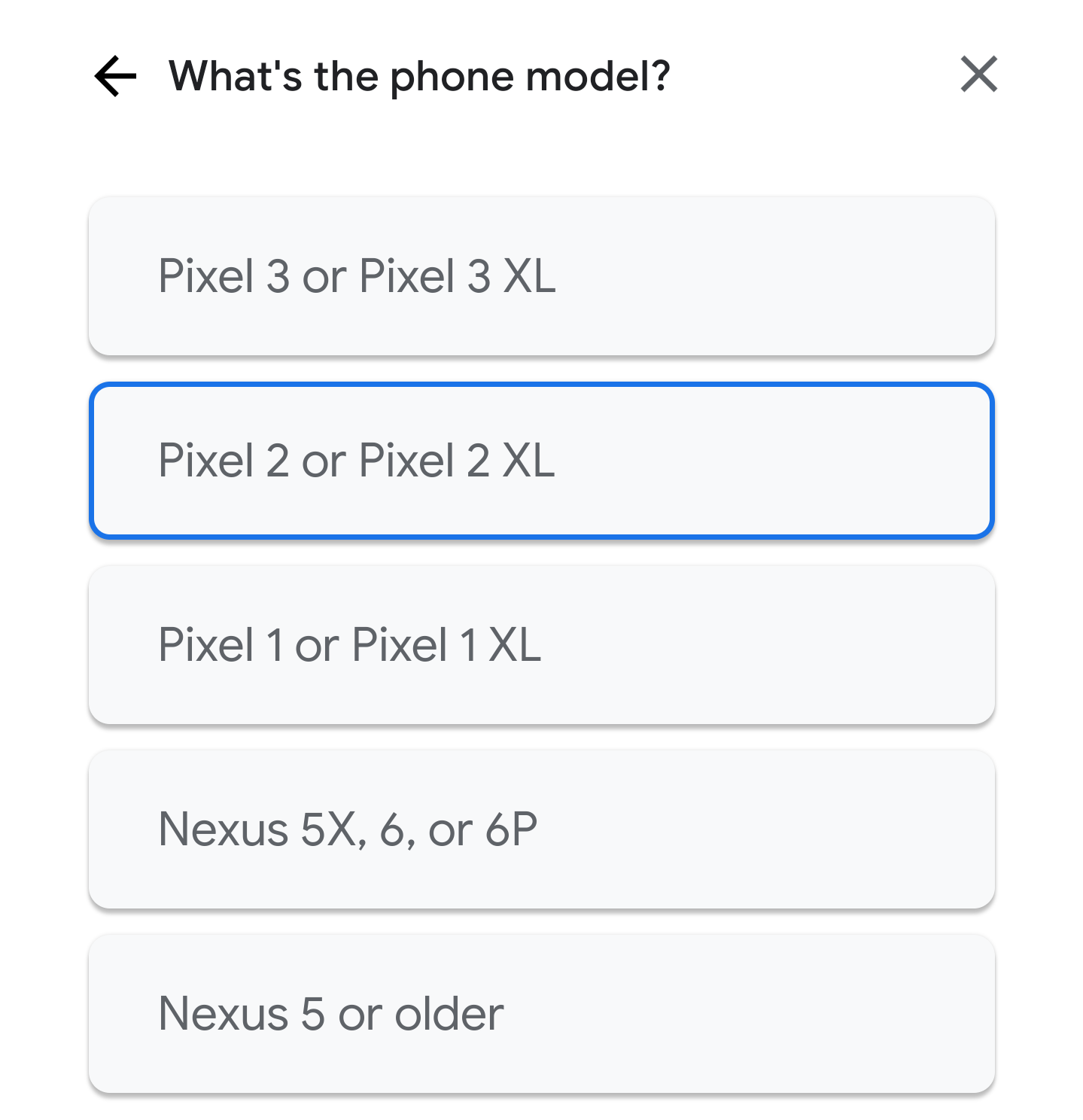 google fi手順:端末に関する情報を選択
