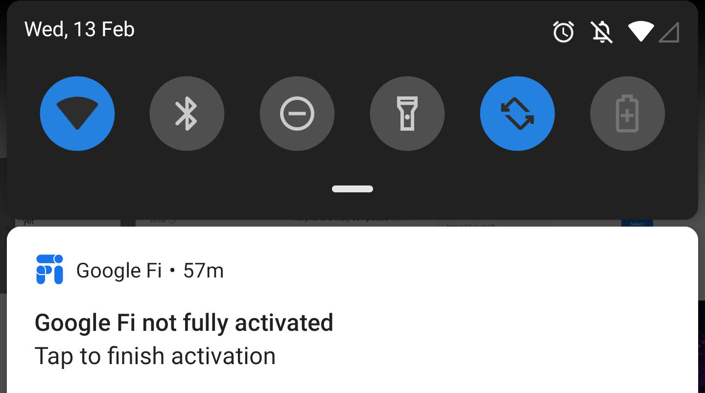 google fiの設定が完了していません