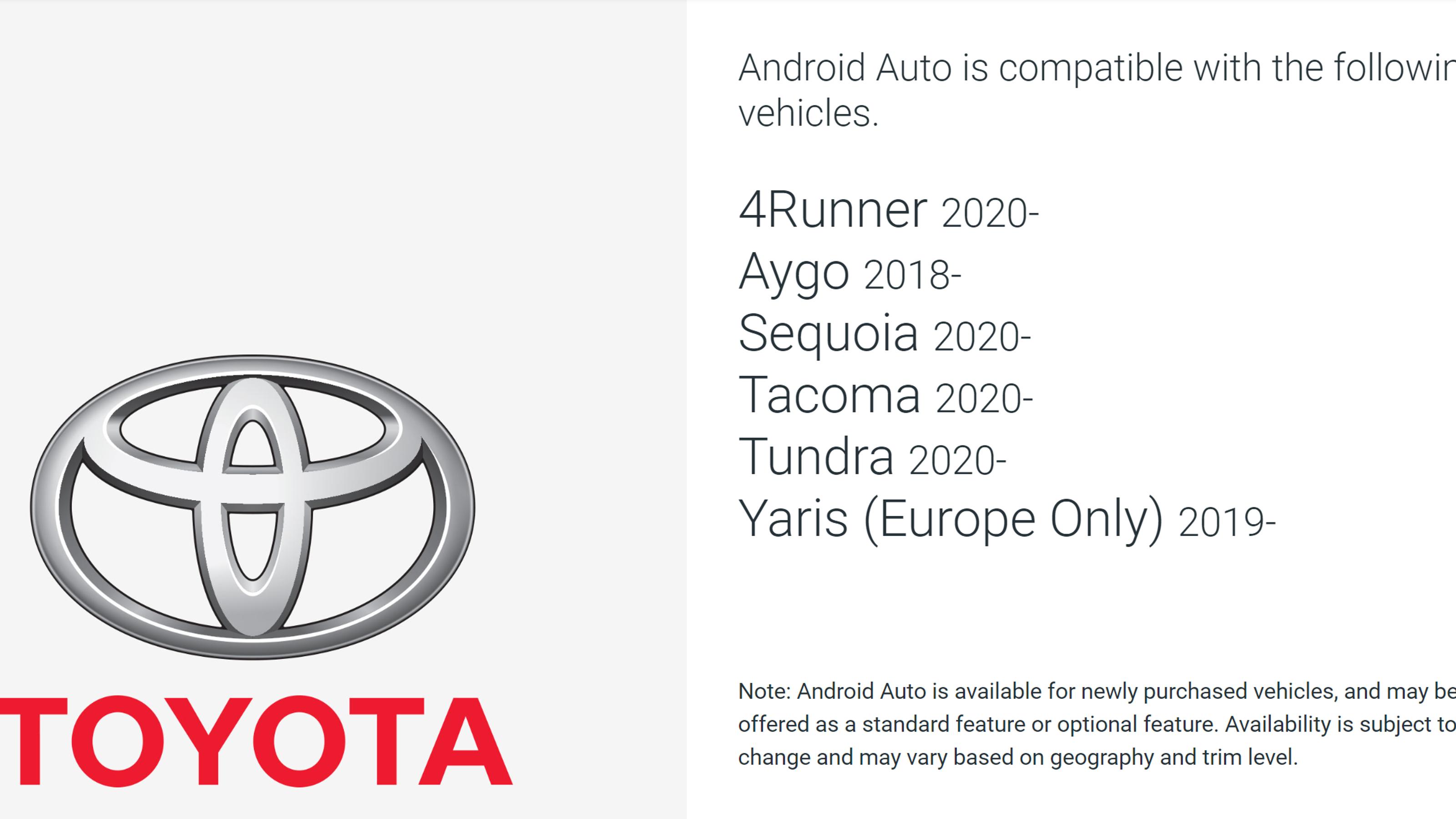 Google Autoが搭載されるトヨタ車種