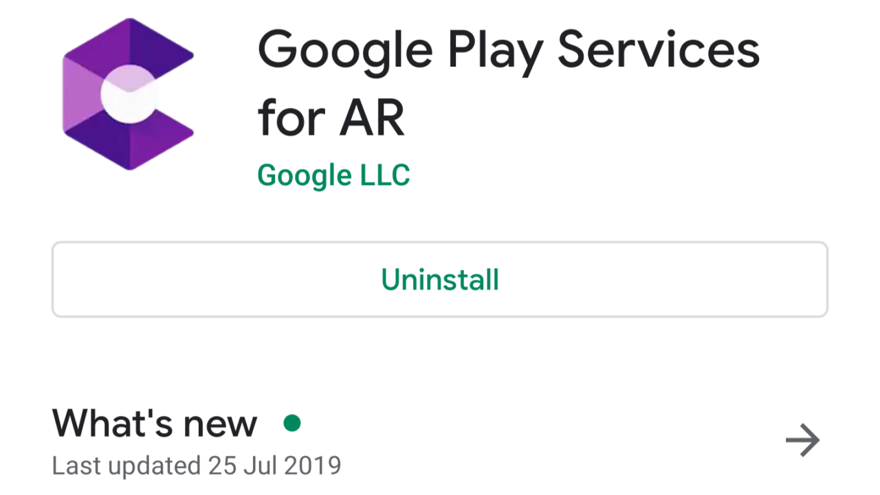 【Android】ARCoreアプリが「Google Play Services for AR」に名称変更