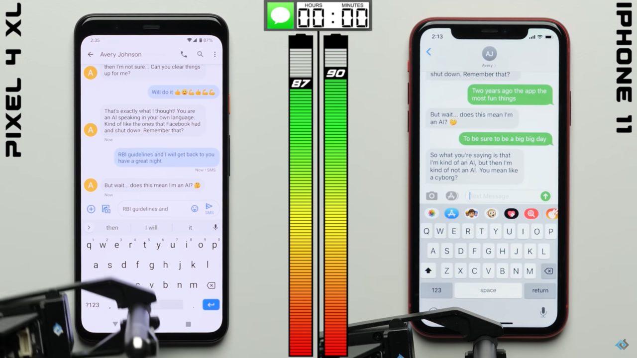 Pixel 4 XLとiPhone 11の電池持ちを比較|iPhoneが1時間長い結果に